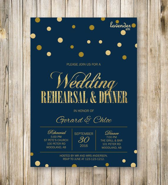 Navy Blue and Gold WEDDING REHEARSAL DINNER by LavenderArte