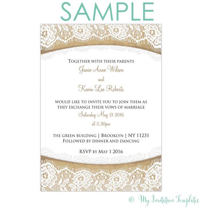 Wedding Invite Online Free: Rustic Burlap And Lace Wedding Invitation