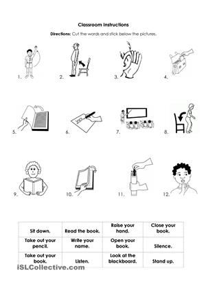 school instructions instructions classroom worksheets primary school. Black Bedroom Furniture Sets. Home Design Ideas