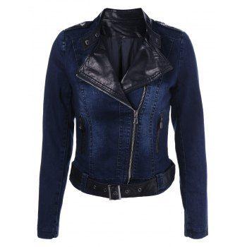 PU Leather Insert Demin Jacket (DENIM BLUE,2XL) in Jackets & Coats | DressLily.com