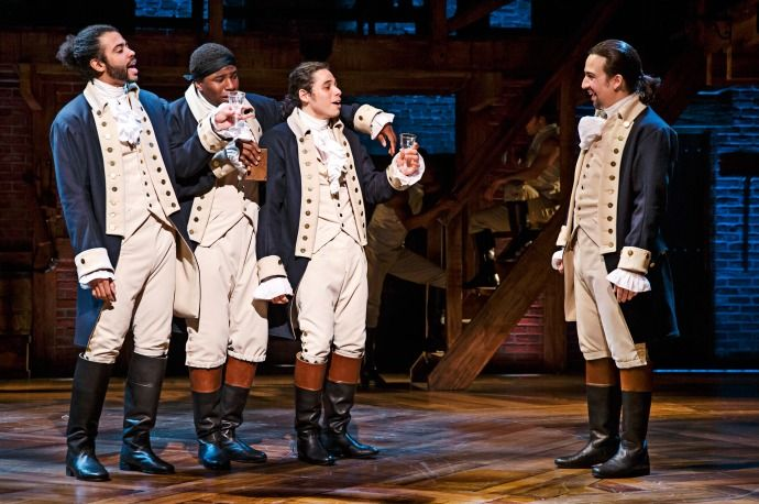 "These boys... all of them... Yes. - Daveed Diggs, Okieriete Onaodowan, Anthony Ramos, and Lin-Manuel Miranda, in a scene from ""Hamilton."""
