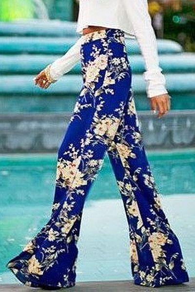 Blue Floral Wide Leg Exumas Pants