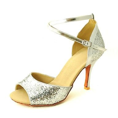 Customizable Women's Dance Shoes Latin/Salsa Sparkling Glitter Customized Heel Black/Red/Silver/Gold – GBP £ 21.89