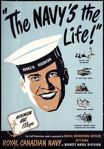 Royal Canadian Navy recruitment poster, WWII era