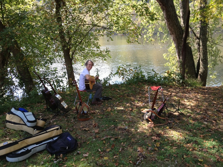 Today's rehearsal spot next to the New River in Radford, VA. We're playing a house concert tonight in Radford. This is perfect nap weather, but I think it would be challenging to do a nap & rehearse at the same time. So rehearsal wins!