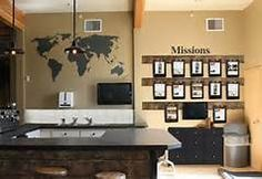 inviting church foyers--love the idea of the missions board and even more so, the map decal on the wall.  You could show where church offerings were going each week with a large pin and some decal words on top or underneath explaining this.