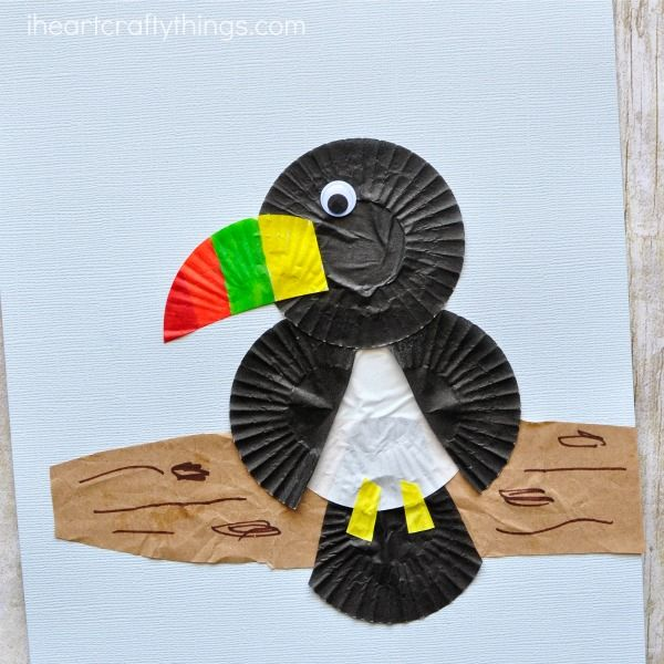 This cupcake liner toucan craft is simple to make and the brightly colored beak gives the craft such a fun pop of color. Fun bird craft for kids.