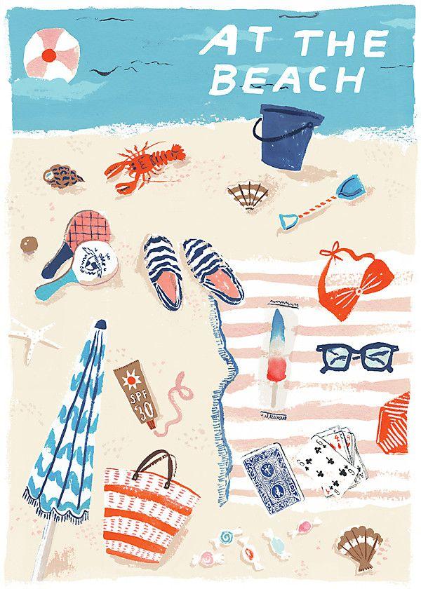 El Ilustrador Danielle Kroll beautifully te invita a imaginarte que estás en la playa. Ommm