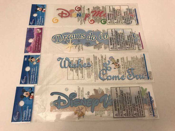 Lot 4 Packs DISNEY VACATION Stickers World Disneyland EK Success Wishes Dreams #EKSuccessBrands