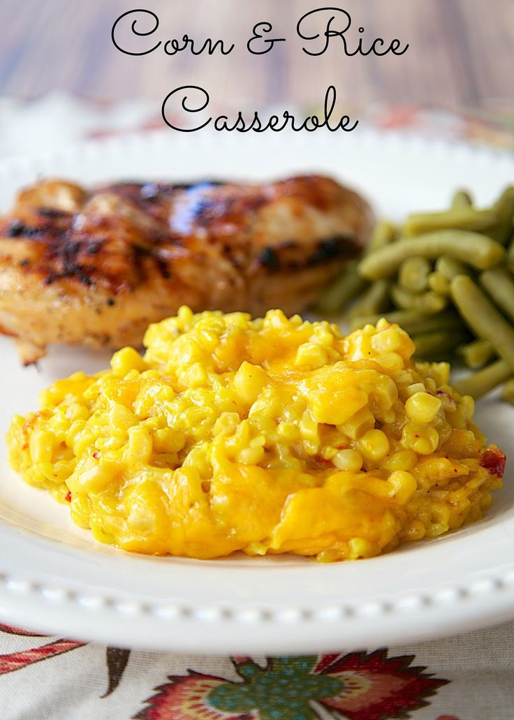 Corn and Rice Casserole - only 4 ingredients! Corn, Rice, Soup & Cheese. It is THE BEST corn casserole I've ever eaten! Can be made ahead of time. Quick side dish recipe!