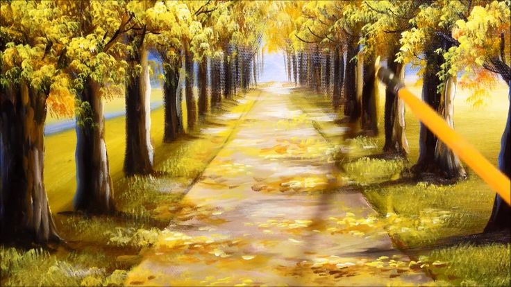 Autumn Tree Lined Road in Acrylics Tutorial Part 2