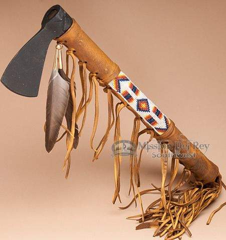 """Old Style Navajo Beaded Indian Tomahawk 16"""" (t98) - Mission Del Rey Southwest"""