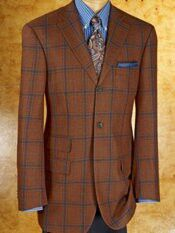 Paul Frederick. Rust Color Sports Jacket with Blue Windowpanel ...