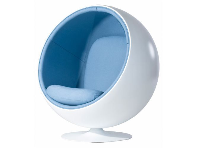ball chair in baby blue boucle wool rove concepts