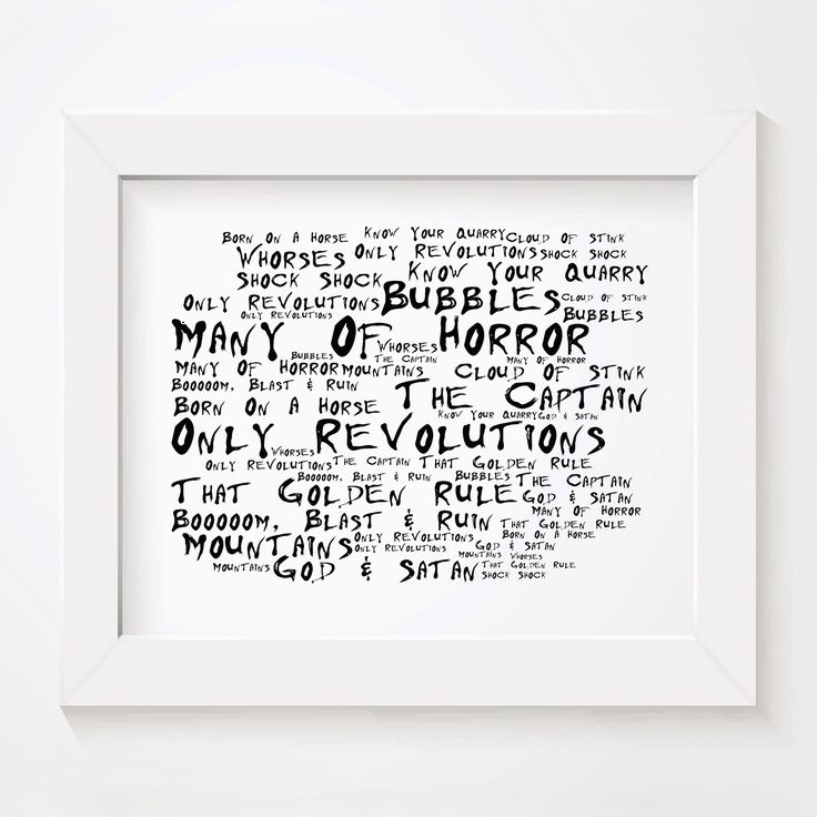 Biffy Clyro Only Revolutions limited edition typography lyrics art print, signed and numbered album wall art poster available from www.lissomeartstudio.com