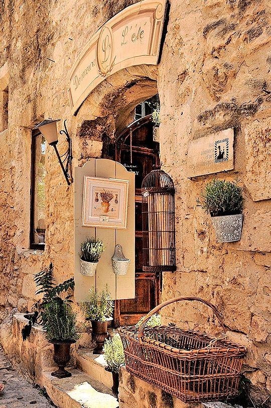 Little French shops tucked in stone walls ~ Les Baux de Provence - #Tuscan #Home #Design - Find More Decor Ideas at: http://www.IrvineHomeBlog.com/HomeDecor/ ༺༺ ℭƘ ༻༻ and Pinterest Boards - Christina Khandan - Irvine, California