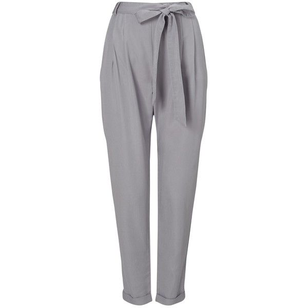 Phase Eight Sienna Soft Trousers, Steel Grey (£59) ❤ liked on Polyvore featuring pants, tailored pants, peg-leg pants, phase eight and tapered pants