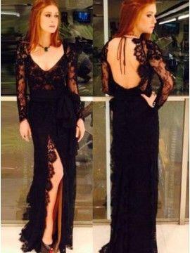 e0a779e1bea Glamorous Black V-Neck Long Sleeves Backless Split Long Sheath Lace Prom  Dress with Beading Sash