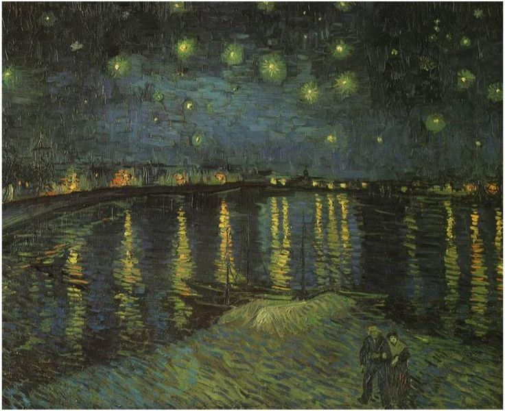 Starry Night Over the Rhone by Vincent Van Gogh  Painting, Oil on Canvas  Arles, France: September, 1888