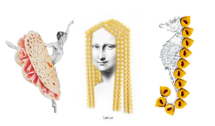 Tortellini to make a sea horse, salami to shape the wings of a fly and piadina to create… a ballet dancer. Here's what happens when creativity and food meat to create original and extremely funny sketches.