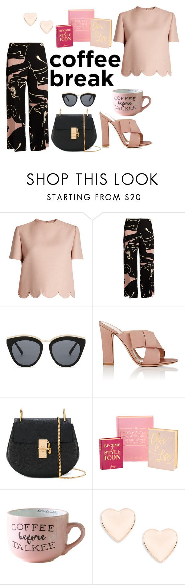 """""""Coffee before talkie."""" by youarechic on Polyvore featuring Valentino, Le Specs, Gianvito Rossi, Chloé and Ted Baker"""