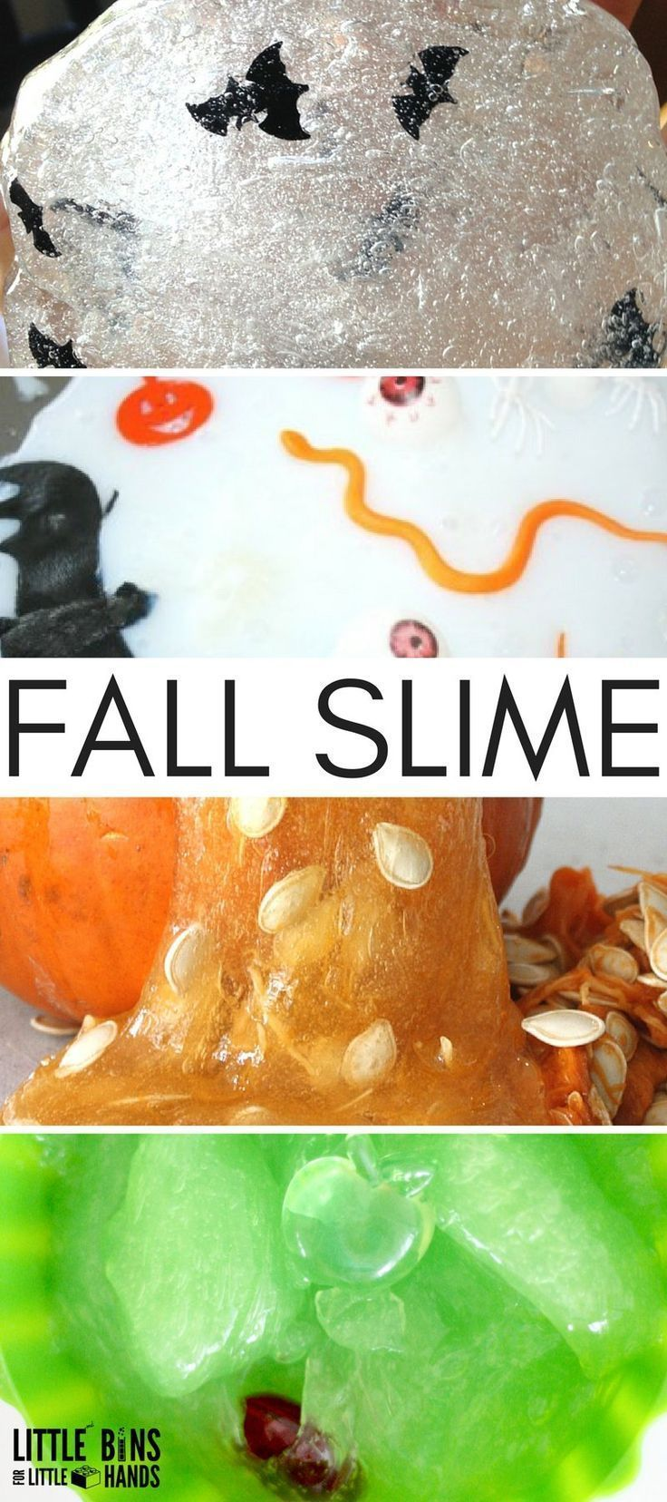 Fall slime ideas and recipes for kid to make slime with homemade slime recipe
