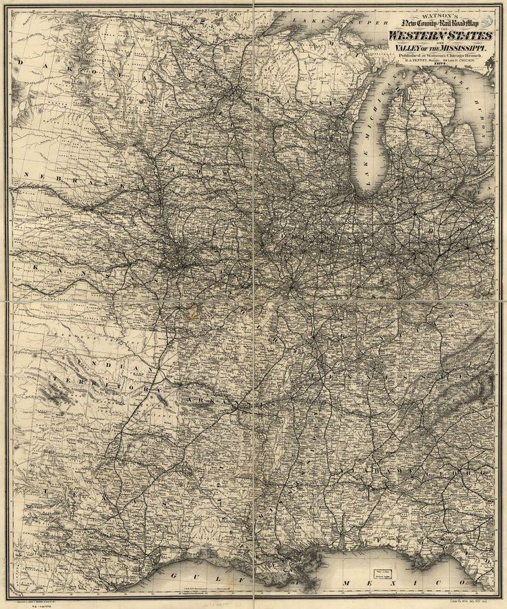 Railroad Train Historic Map Western Us 1874