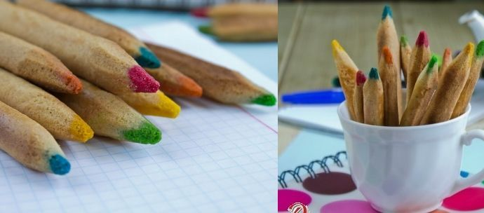 Cookies shaped as Color Pencils