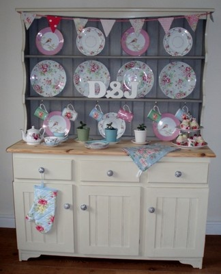 Dresser painted in French Linen and Old Ochre chalk paint. Now sold #Painted dresser #welsh dresser #shabby chic