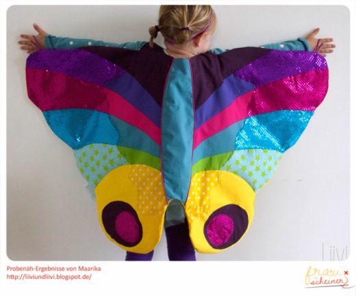 Schmetterlingumhang_Maarika, Schmetterling-Umhang Schnittmuster und Nähanleitung, Flügel, wings, Schmetterlingflügel, Caterpillar, Raupe, Regenbogenfarben, Umhang, Fasching, Karneval, Fastnacht, Fliegen, Verkleiden, Verkleidung