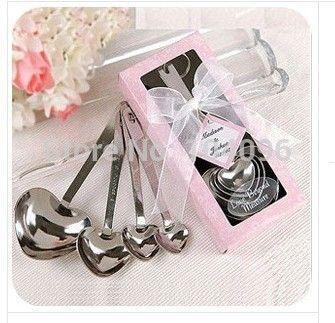 Нежный 50 sets = 200 шт./лот Heart Shaped Мерные Ложки Установить Свадебные Сувениры ЛЮБОВЬ Новый 4 шт./компл. для каждого подарок коробка