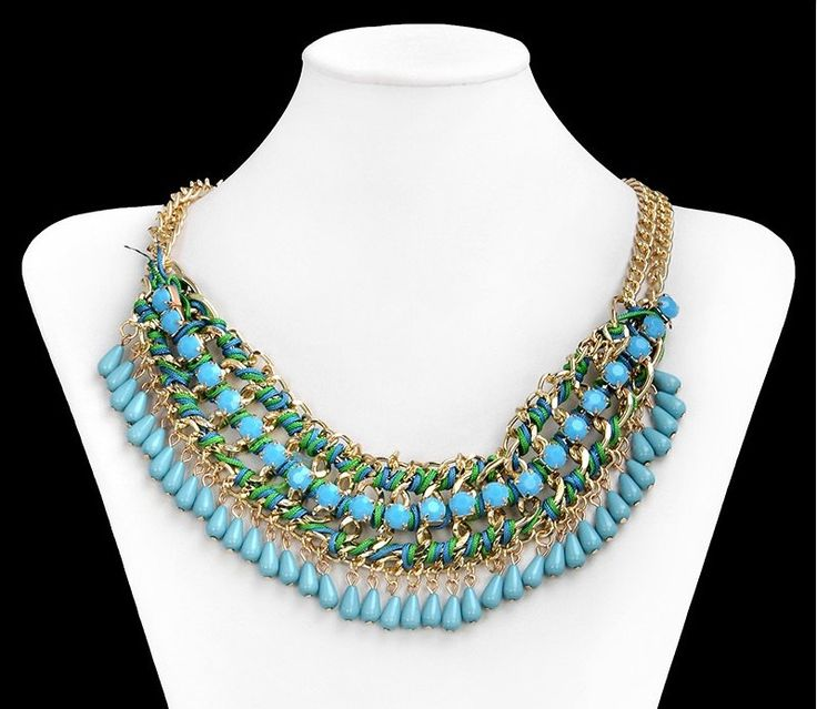 Gold Turquoise Necklace, Zara Necklace, Layered Necklace, Bib necklace, Weave Necklace, by MagsAmber on Etsy