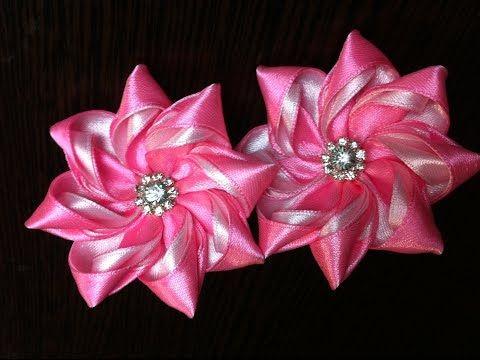 Украшение на резинку Канзаши / Розово-белый цветок - YouTube