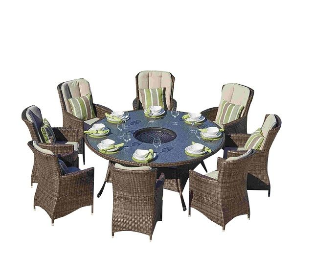Paf 0085 Outdoor 8 Seat Round Table Fire Pit Set Buy Outdoor