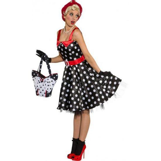 Zwarte rock en roll jurk met witte stippen voor dames. Zwarte jaren 50 jurk met witte stippen en rode details. Inclusief riem.