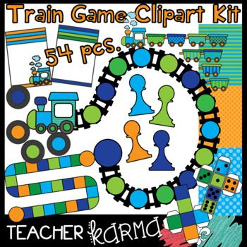 54 piece Train Game Graphics Kit includes everything you need to make your own GAMES! The elements included in this download are: game boards, numbered dice (dice can be folded and actually used), blank dice, game pieces, cards, coordinating digital papers, and a FREE BONUS set of train graphics (full-product).