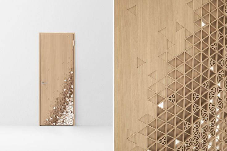 Nendo, Seven doors, Abe Kogyo. Kumiko. A door that applies kumiko, a technique of assembling wooden interior lattices without nails, most often used in creating door fixtures for traditional Japanese tatami rooms.  The kumiko gradually blends into the plain portion of the door.