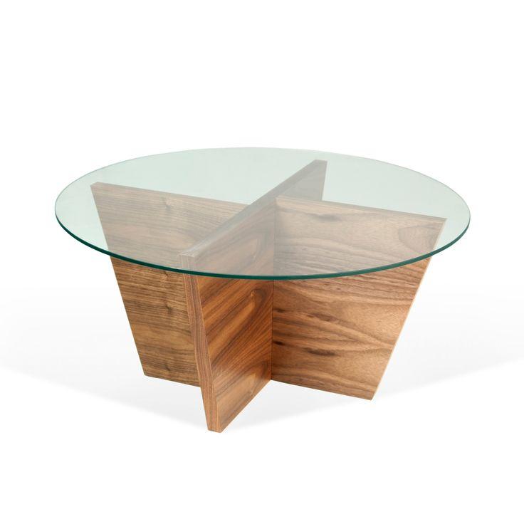 Table basse design ronde en bois / plateau verre Diam80cm OLIVA TemaHome port offert