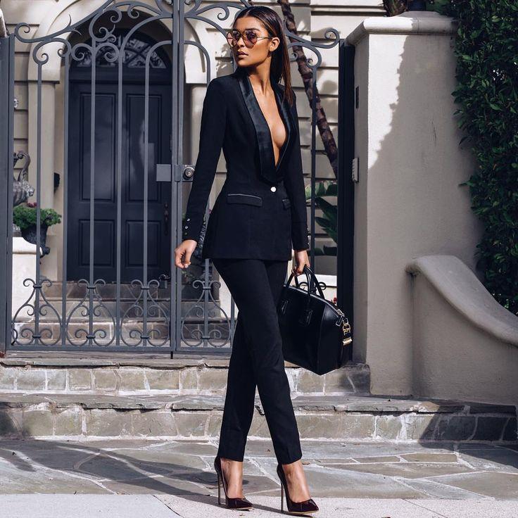 """Bo$$ Lady. Shop the Masson suit and Paris heels in Oxblood. Shop: houseofcb.com @cibellelevi"""