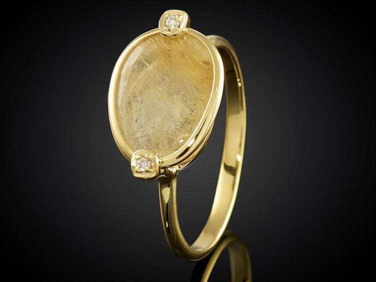 Geelgouden ring met gele rutielkwarts en diamanten Sieraden in Stijl