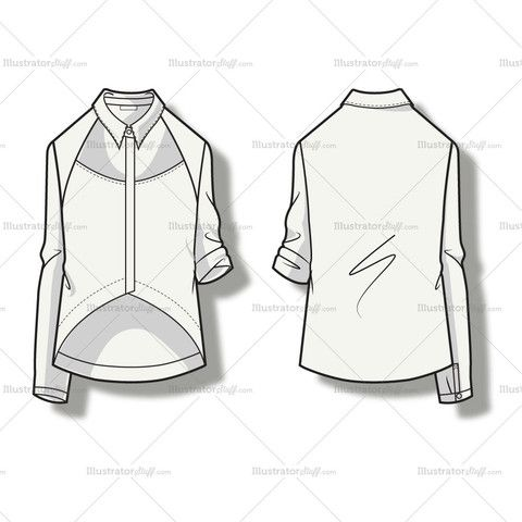 Women's Cutout Blouse Fashion Flat Template