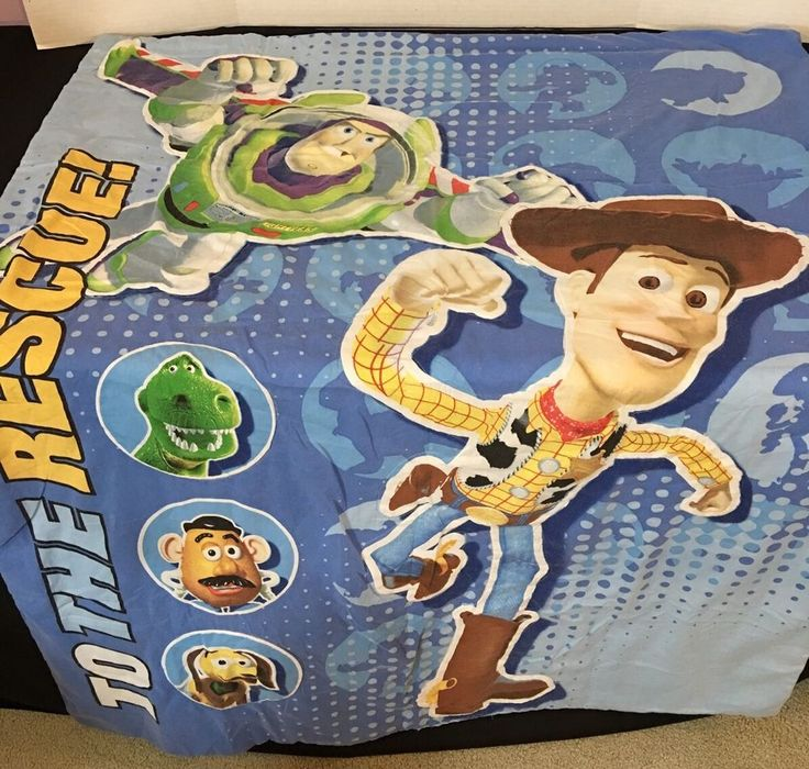 Toy Story Toddler Bed Comforter Blanket To the Rescue Buzz Woody Rex Slinky  #Unbranded
