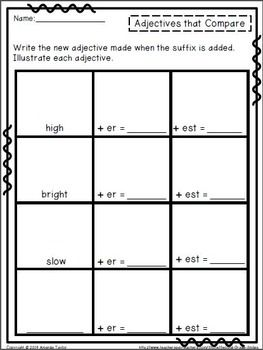 Illustrating Adjectives That Compare: Printables for the C