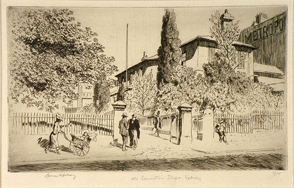 Lionel LINDSAY, Old Education Department from the Lands Office, 1936. etching.