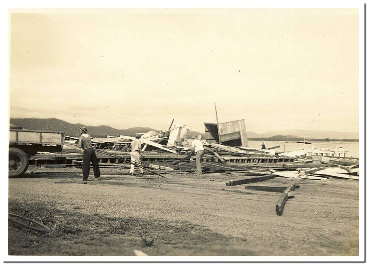 1949 Cooktown Cyclone: Government Wharf Shed.