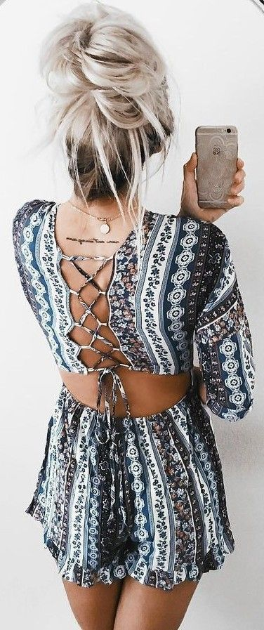 #summer #girly #outfits |  Back Detail Boho Romper