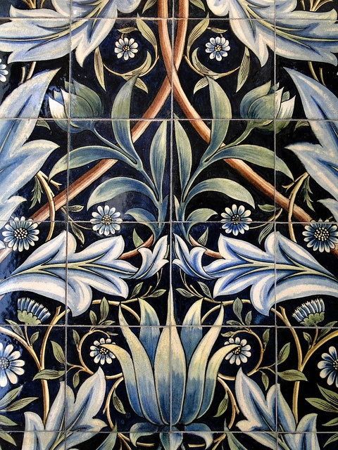 Tile panel with flowers, English, 1876, from Membland Hall, Devon. This is the one large-scale tile pattern of this type sold by Morris and Co. Made at William de Morgan pottery and designed by William Morris - detail