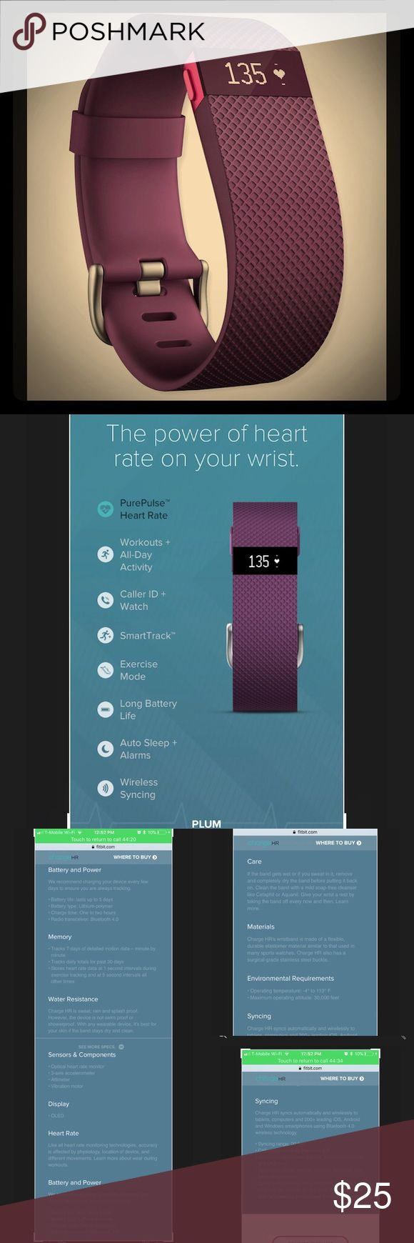 """FitBit Charge HR in Plum and Large Band + Charger FitBit Charge HR in Plum and Large Band + Charger. Large band fits 6.2"""" to 7.6"""". Only worn a few months since they sent me the wrong color. Works perfectly and is in great condition. Band has been cleaned, sanitized and is ready to help someone else with their fitness goals! See photos for a list of everything this tracker does...it's a lot! The reminders, heart rate and sleep tracker were really helpful for me. 💜 FitBit Accessories Watches"""