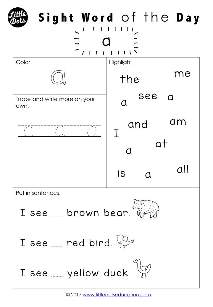 Free Dolch Sight Words Worksheet For Pre K Or Pre Primer