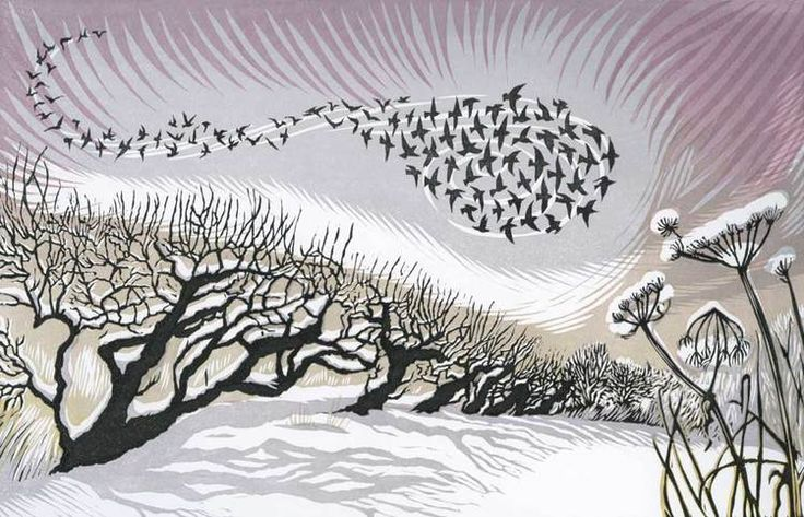 Midwinter Starlings linocut